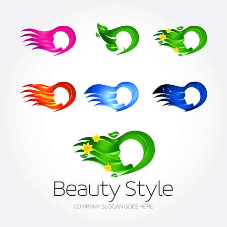 Beauty Fashion Spa Logos design templates set. Pink, green leaves, flowers, fire, blue water, night concept versions. Haircut salon, beauty salon, massage, cosmetic and spa. Make up logotype. Ilustrace