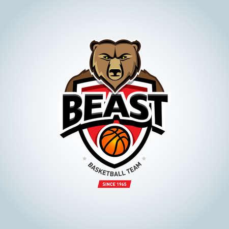 Baseball bear sport badge logo design template on white
