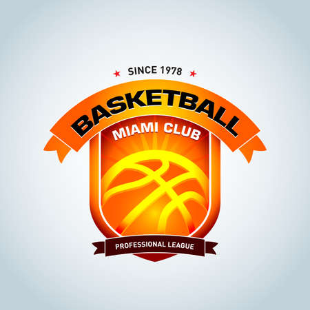 Basketball logo logo template, logo logotype template, sport logo logo template. Basketball Themed T shirt template. Vector illustration.