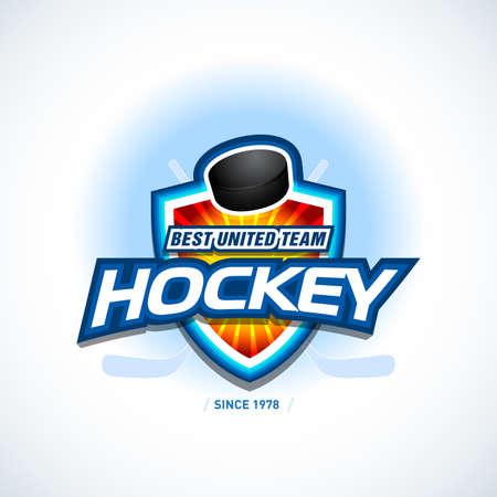 Hockey sport team logotype template. Hockey team logo template. Hockey emblem, logotype template, t-shirt apparel design. Sport badge for tournament or championship. Ilustrace