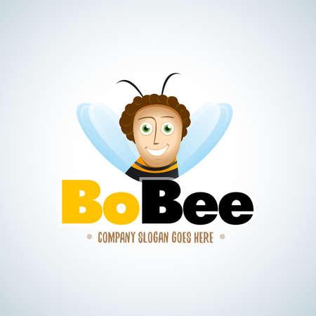 Cartoon bee character. Cartoon Bee Logo, emblem vector template design. Isolated vector illustration. Reklamní fotografie - 126185733