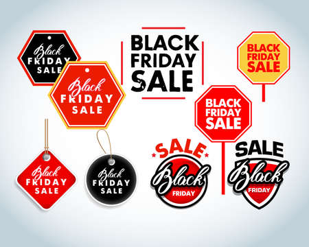 Black Friday sale design elements. Black Friday sale inscription labels, stickers. Isolated Vector illustration