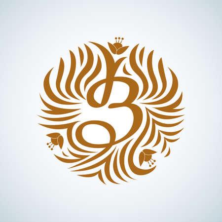 B letter monogram. Boutique Luxury Vintage, Crests logo. Business sign, Restaurant, Royalty, Boutique, Hotel, Heraldic, Jewelry, Fashion, Real estate, Resort. Vector illustration. Ilustrace