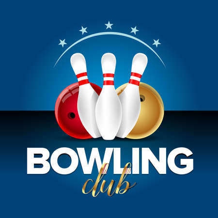 Bowling banner, card template, bowling champ club and leagues symbols realistic isolated vector illustration. Иллюстрация