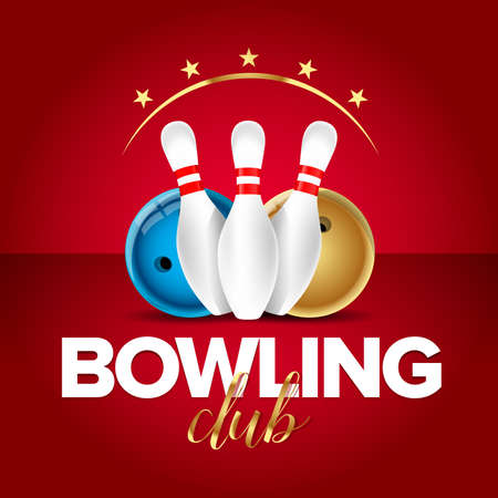 Bowling banner, card template, bowling champ club and leagues symbols realistic isolated vector illustration. Red version. Illustration