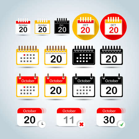 Calendar icons set. Calendar art emblem. Calendar flat icons. Ilustrace