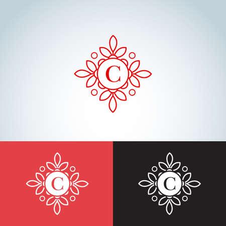 C letter monogram, template, badge template, vector illustration.