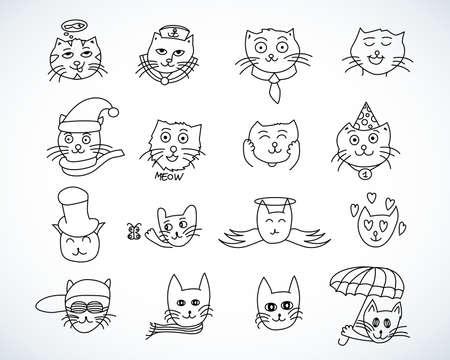 Cute cat heads set in hand drawn. Pet animal vector illustration