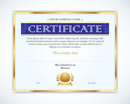 Vector illustration of gold detailed certificate. Template that is used in certificate, currency and diplomas. Ilustrace
