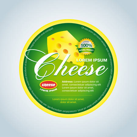 Cheese label template design. Green round cheese label. Vector illustration.