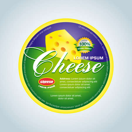 Cheese label template design. Green and violet round cheese label. Reklamní fotografie - 127482627