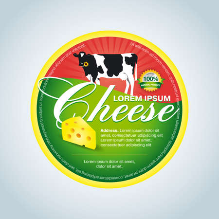 Cheese label template design. Green and red round cheese label. Ilustrace