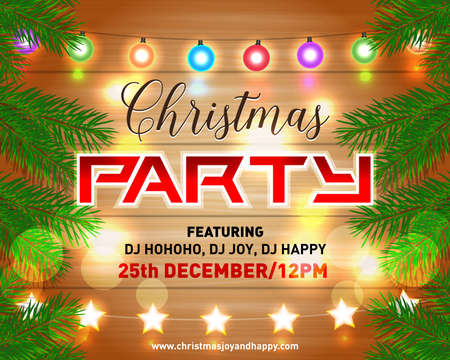 Christmas night party poster, invitation, card, flyer  illustration. Merry christmas design template vector background.