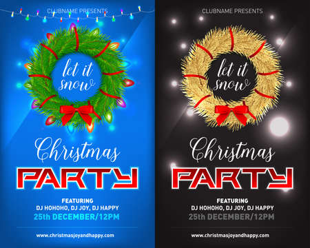 Christmas night party posters, invitations, cards, flyers set. New Year and Merry Christmas design template.