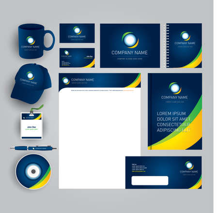 Abstract gray business style (corporate identity) template 7: blank, card, pen, cd, note-paper, envelope, flash memory Reklamní fotografie - 127484058