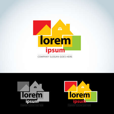 Construction houses logo template. Home builder logotype. House abstract icon.Isolated vector illustration.