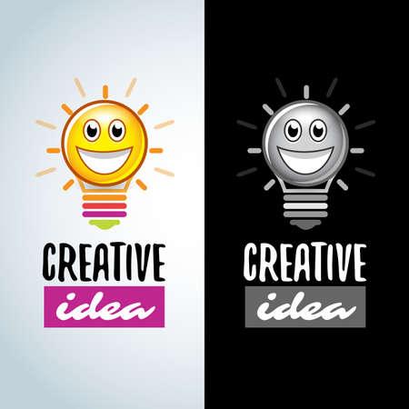 Colorful Creative fun idea, Smile light bulbs creative logotype template. Ilustrace