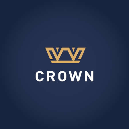 Geometric Vintage Crown Abstract design template. Vintage Crown Royal King Queen symbol concept icon. Ilustrace