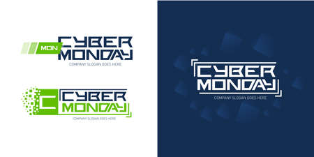 Cyber monday logo design templates with dark blue abstract background, vector illustration. Ilustração