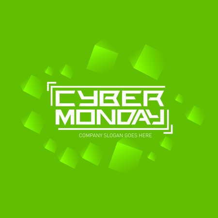 Cyber monday logo design template with green abstract background, vector illustration.