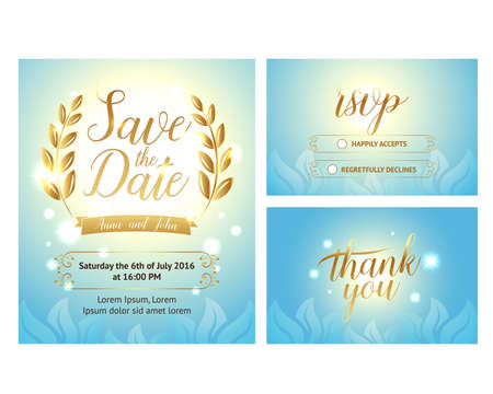 Elegant Gentle wedding set with hand lettering and beautiful background. Includes save the date, rsvp and thank you cards templates. Reklamní fotografie - 127484062
