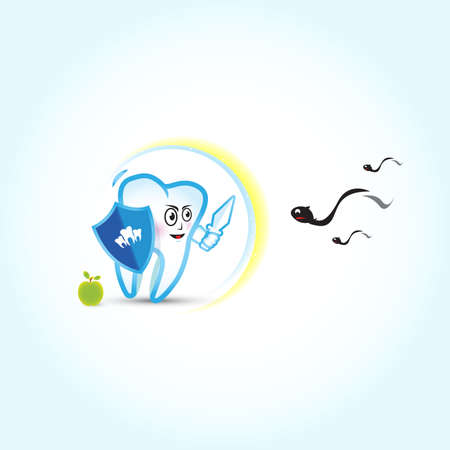 Dental illustration. Tooth fighting with caries, vector illustration. Dental care, dental clinic. Illustration for kids.