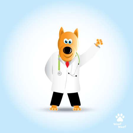 Cartoon dog doctor with stethoscope. Pet clinic. Vector illustration Ilustrace