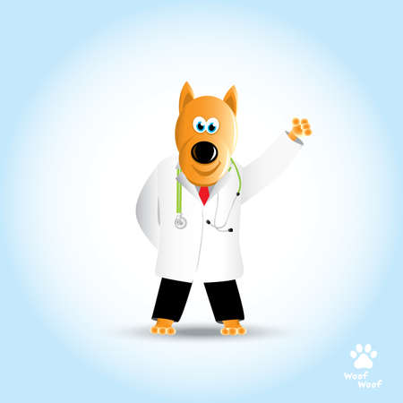 Cartoon dog doctor with stethoscope. Pet clinic. Vector illustration Illustration