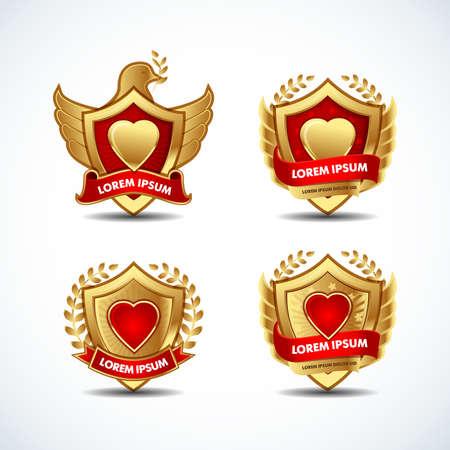 Gold icons, emblems, badges templates. Reklamní fotografie - 127484060