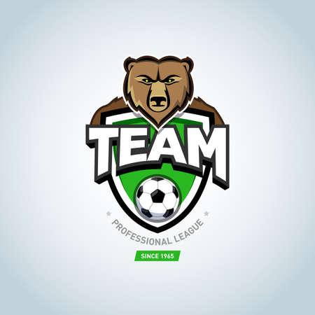 Soccer sport logo. Bear mascot logo. Green soccer football logo design template, sport logotype template. Soccer Themed T shirt. Football logo. Vector illustration.