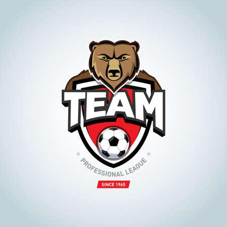 Soccer sport logo. Bear mascot logo. Red soccer football badge logo design template, sport logotype template. Soccer Themed T shirt. Football logo. Vector illustration.
