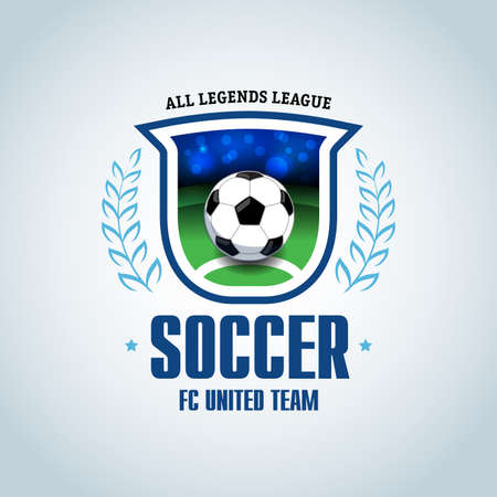 Soccer logo. Green and dark blue soccer football badge logo design template, sport logotype template. Soccer Themed T shirt. Football logo. Vector illustration. Illustration
