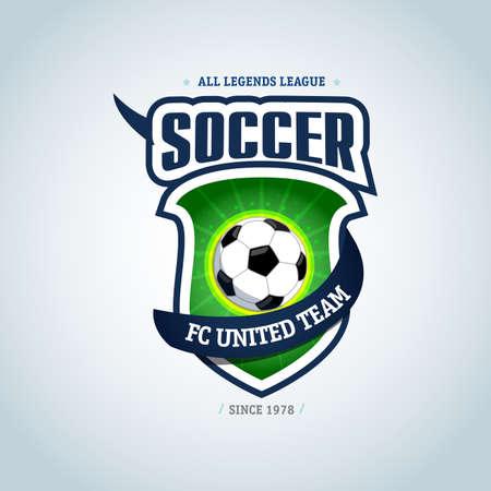 Soccer logo. Green and dark blue soccer football badge logo design template, sport logotype template. Soccer Themed T-shirt. Football logo. Vector illustration.