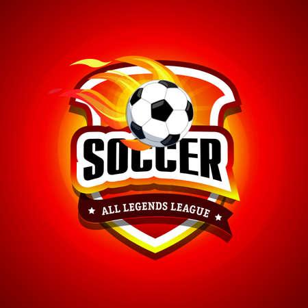 Soccer, football logo. Fire Red and black soccer football badge logo design template, sport logotype template. Soccer Themed T shirt. Football logo. Vector illustration.