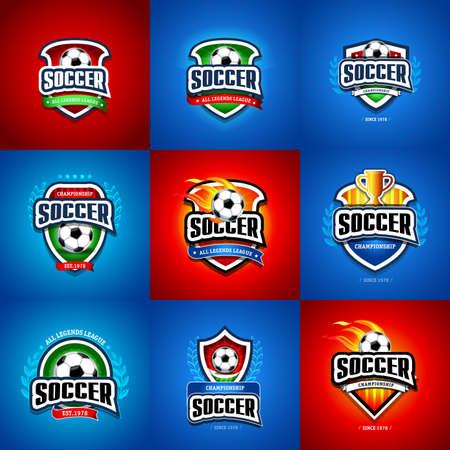 Fútbol, conjunto de logotipo de fútbol. Plantilla de diseño de logotipo de insignia de fútbol verde, rojo y azul oscuro, plantilla de logotipo deportivo. Camiseta temática de fútbol. Logotipo de fútbol. Ilustración vectorial