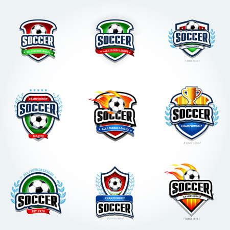 Soccer logo set. Football logotypes. Set of soccer football crests and logo template emblem designs, logotypes design concepts of football icons. Collection of Soccer Themed T shirt Graphics