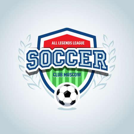 Soccer logo. Soccer football badge logo design template, sport logotype template. Soccer Themed T shirt. Football logo. Isolated Vector illustration. Illustration