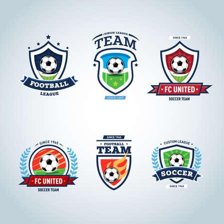 Soccer logo. Football logo. Set of soccer football crests and logo template emblem designs.
