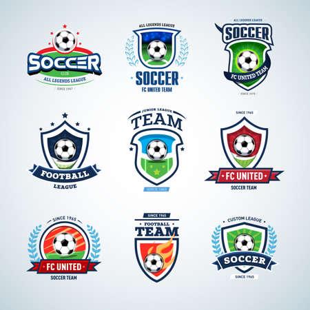 Soccer logo templates mega set. Football logo. Set of soccer football crests and logo template emblem designs, logotypes design concepts of football icons. Illustration