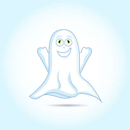 Cute Ghost on bright blue background, vector art illustration