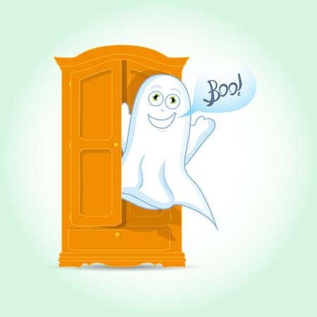 Cute Ghost, vector illustration Vettoriali