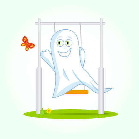 Cute Ghost on swing trying to touch butterfly, vector art.