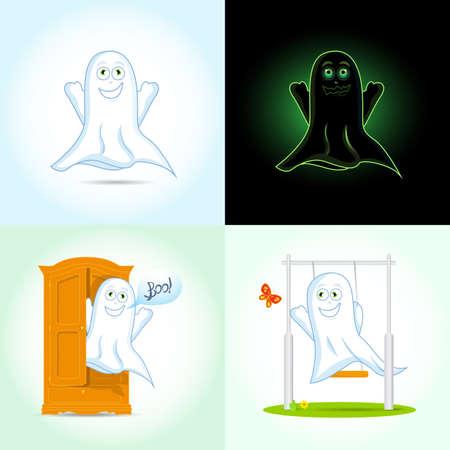 Set of Halloween Ghost, Halloween night ghosts. Vector illustrations.