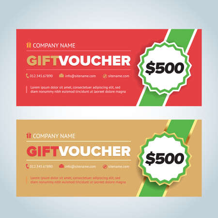 Gift Vouchers, Gift certificates, Coupon templates. Red and beige color versions.