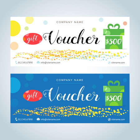 Gift Vouchers, Gift certificates, Coupon template. White and blue color versions.