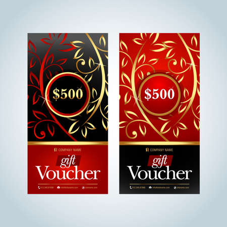 Gift Voucher, Gift certificate, Coupon template. Gold, Red and black color versions. Vector illustration. Vettoriali