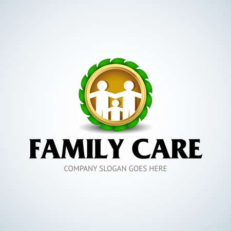 Family care gold icon with green leaves Stock Illustratie