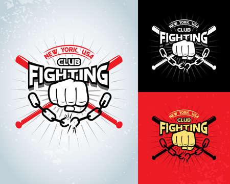 Fighting t-shirt design, boxing monochrome
