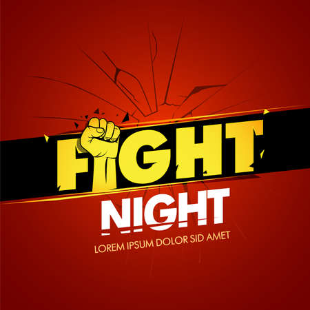 Modern professional fighting poster template logo design with fist. Isolated vector illustration.