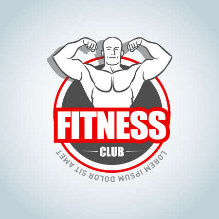 Sport Fitness club creative concept. Bodybuilder Fitness Model Illustration, Gym club, Sign, Symbol, badge.fitness vector design template, design for gym and fitness vector.